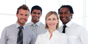 Portrait of a business team smiling at the camera