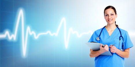 Medical doctor woman. Over cardio background.
